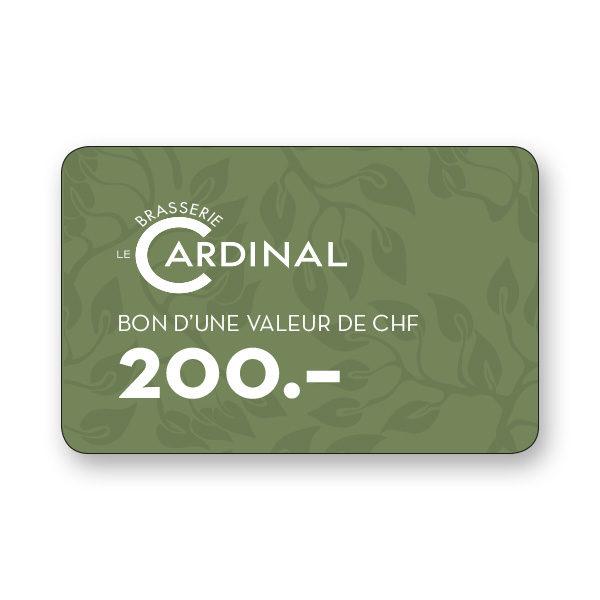 200.- CHF gift voucher Brasserie le Cardinal
